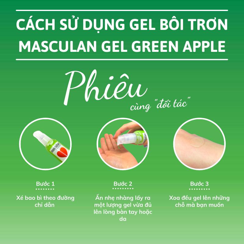 Hướng dẫn sử dụng Gel bôi trơn cao cấp Masculan Green Apple gốc nước